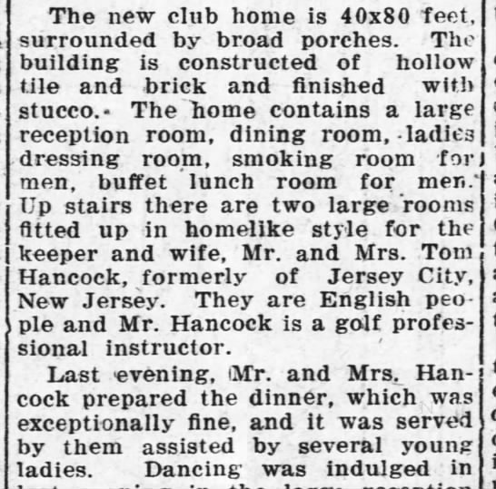 Tom Hancock of Jersey City new professional. Arkansas City Daily Traveler 6 Nov 1920, p1c4 - The new club home is 40x80 feet, surrounded by...
