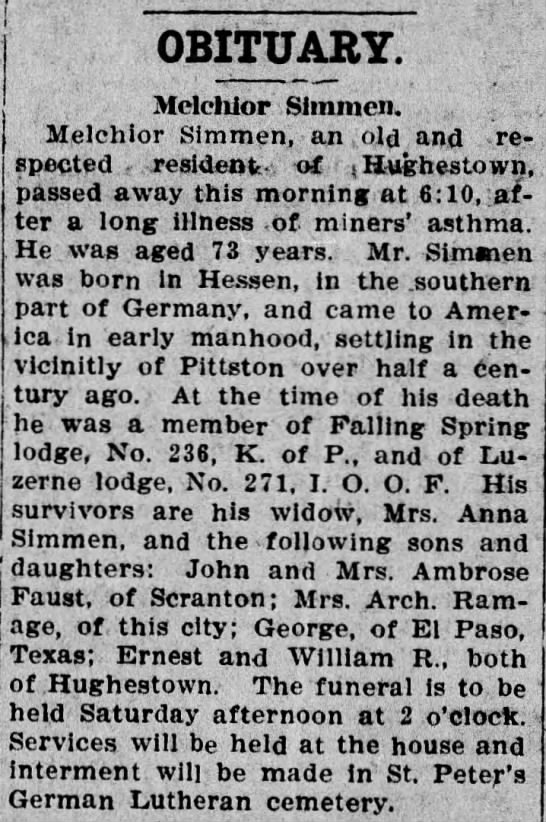 Pittston Gazette, 13 NOV 1907, p. 3 - OBITUARY. Mdeliior Siinmcn. Melchior Simmen, an...