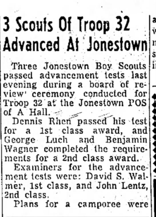 George luch Boy Scouts - 3 Scouts Of Troop 32 Advanced At Jonestown...