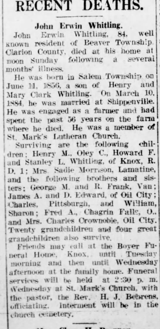 John Erwin Whitling obit Feb 10 1941 - June St. dren ; and D. 1: and ters; RECENT...