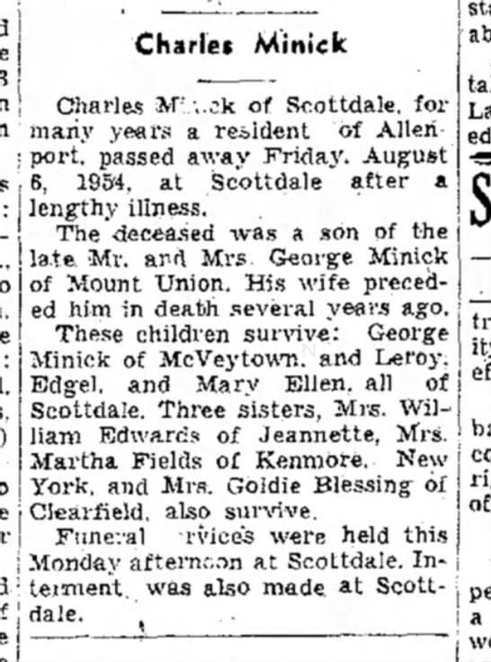 Charles Minick-obituary-TDN-9 August 1954-page 6 - Charles Minick ] j Charles iM-'.;.sk of...