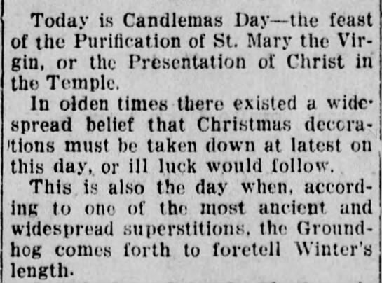 Christmas Decorations bad luck after Candlemas/Groundhog Day - Today is Candlemas Day the feast of the...