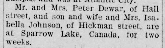 Sparrow Lake News - Mr. and Mrs. Peter Dewar, of Hall street, and...