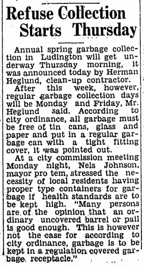 LDN 8 May 1940 - Refuse Collection Starts Thursday - Refuse Collection Starts Thursday Annual spring...
