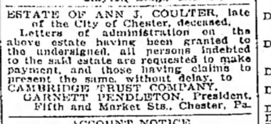 Dalily Times March 31, 1917 - ESTATE OF ANN J. COULTER, late of the City of...