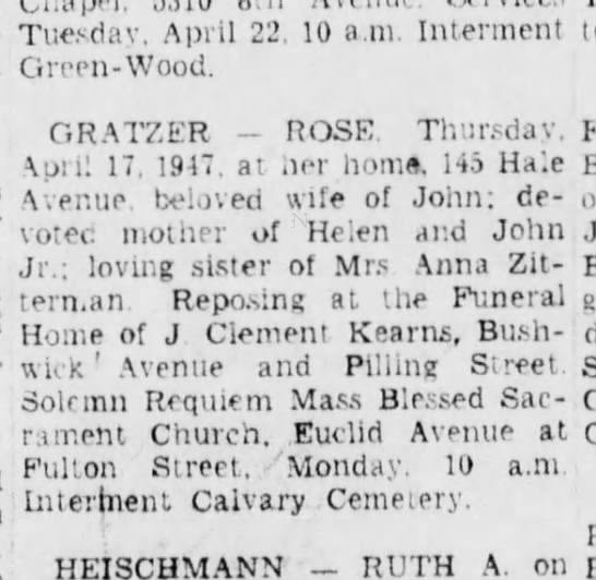 Rose Gratzer Obituary - Tuesday. April 22. 10 a.m. Interment...