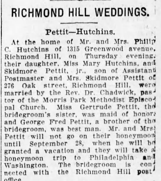 Pettit-Hutchins Wedding 1911 - RICHMOND HILL WEDDINGS. Pettit Hutchins. ... At...