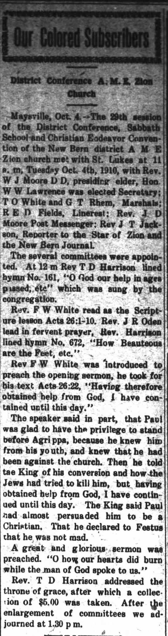 "T D Harrison mention The Daily Journal (New Bern, North Carolina  Oct 6, 1910 - f If' "" . , 'w District Conference A; M. K,..."