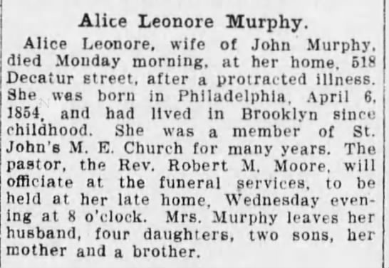 The Brooklyn Daily Eagle (Brooklyn, New York) - Tuesday, 20 Sep 1910 - Alice Leonora Murphy. Alice Leonore, wife of...