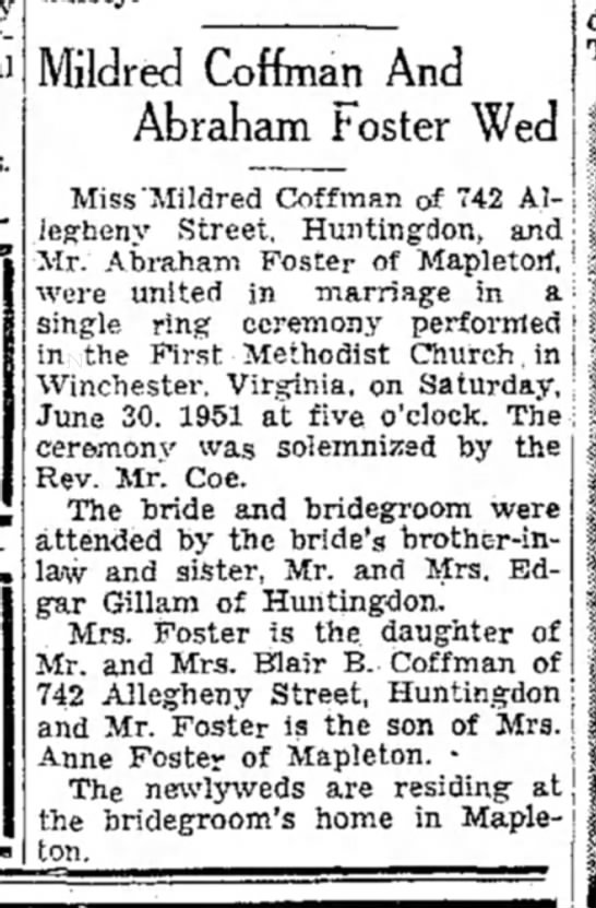 Abraham Foster weds, TDN-p.7-7 Jul 1951 - Mildred Coffman And Abraham foster Wed Miss...