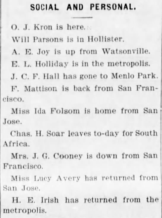 Santa Cruz 23 May 1896 H E Irish returns from metropolis - SOCIAL AND PERSONAL, O. J. Kron is here. Will...