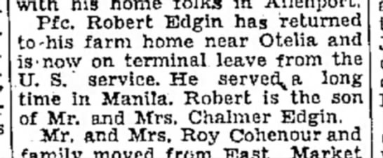Robert Edgin-TDN-p.2-2 Dec 1946 - Pfc. Robert Edgin has returned to-his farm home...
