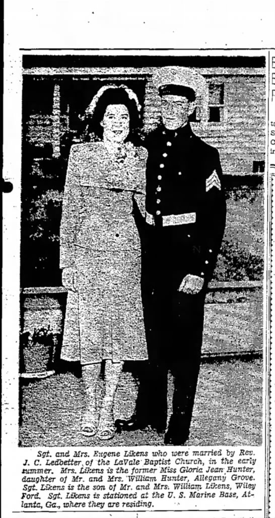 - Sgt. and Mrs. Eugene Likens who were married...