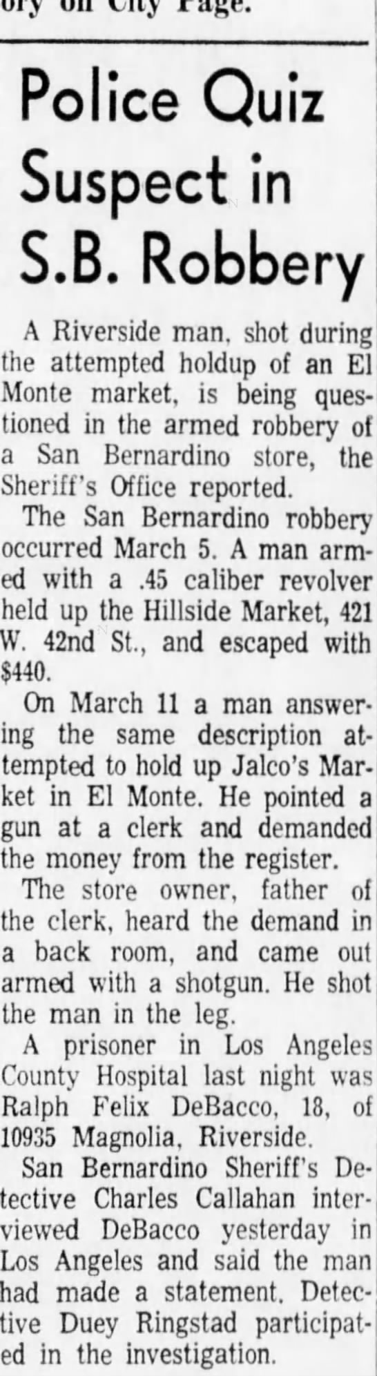 March 17, 1965 - lhe ; robbery March 5. A man arm- arm- Police...