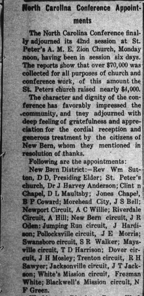 T D Harrison mention 2 New Bern Weekly Journal Dec 8, 1905 - Korth Carolina Conference Appointments...