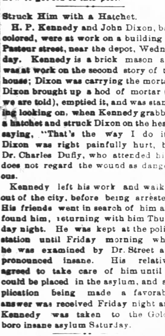 Henry P Kennedy the father - Struck Him with a Hatchet. H. P. Kennedy and...