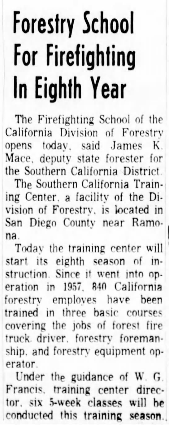 Forestry School For Firefighting In Eighth Year  10-5-1964 - San Diego Countv near Ramo- Today the training...