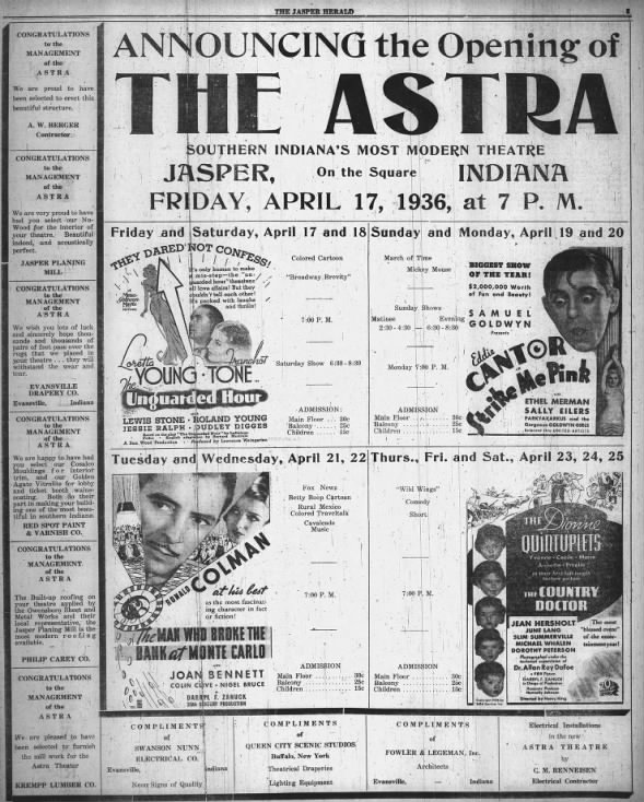 Astra theatre opening