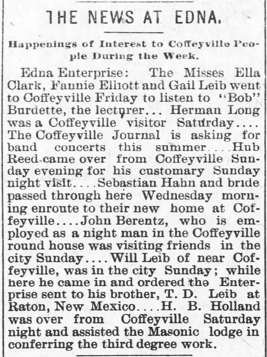 H. B. Holland conferring Masonic third degree work - . THE NEWS AT EDNA. Happenings of Interest to...