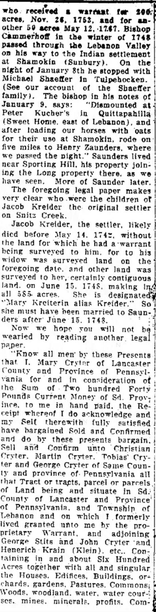 The History of the Kreider Family:  22 May 1919; colume 6 - who r«c*i>*d a wtrrturt f«r *0*.acres,...