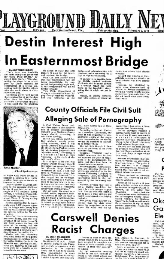Destin Interest High in Eastern Bridge Feb. 6,1970 - Year No. 259 16 Pages Fort Walton Beach, Fta....