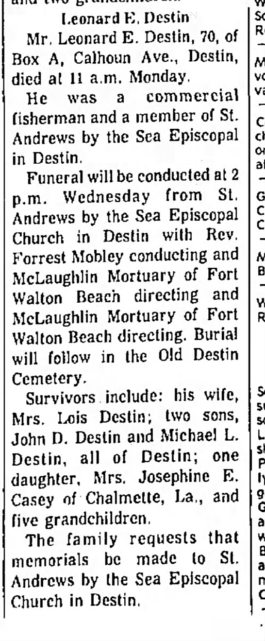 Leonard E. Destin OBIT Feb 20 1973 - d of Leon, First t i n g a n d i s wife, Ore.,...