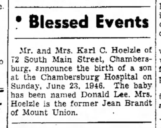 Blessed Events - ' Blessed Events Mr. and Mrs. Karl C. Hoelzle...