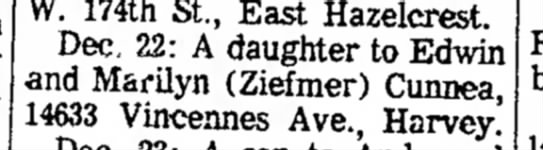 Tammy's birth announcement - W. 174th St., East Hazelcrest. Dec. 22: A...