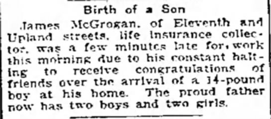 14 lb. Baby Born - Birth of a Son James McGrogan. of Eleventh and...
