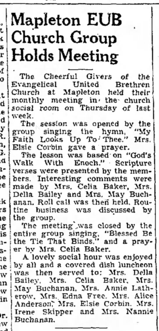 May Robley Buchanan-EUB Church Group-TDN-p.7-14 June 1949