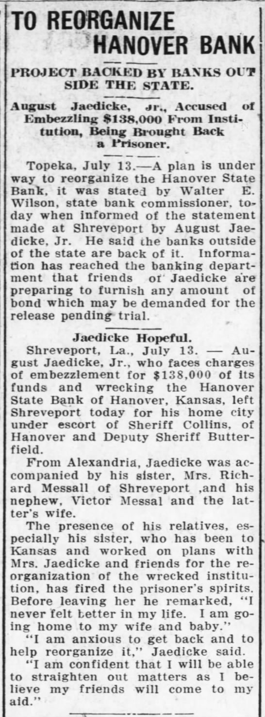 august jaedicke . to reorganize hanover bank . jul 1920 - TO REORGANIZE -HANOVER BANK PROJECT BACKED BY...