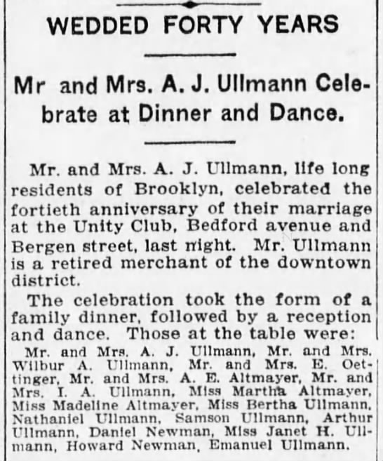 Ullmann - WEDDED FORTY YEARS Mr and Mrs. A. J. Ullmann...
