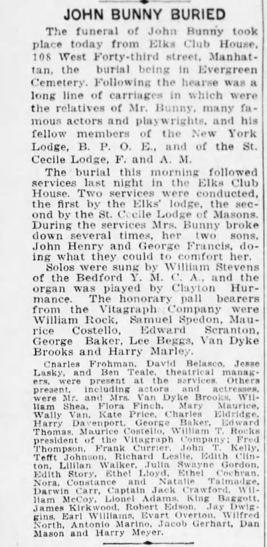 John Bunny Buried April 29, 1915 - JOHN BUNNY BURIED The funeral of John Bunny...