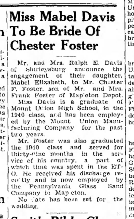 Chester Foster weds-TDN-p.6-20 Nov 1945 - Mabel Davis To Be Bride Of Chester Foster a a...