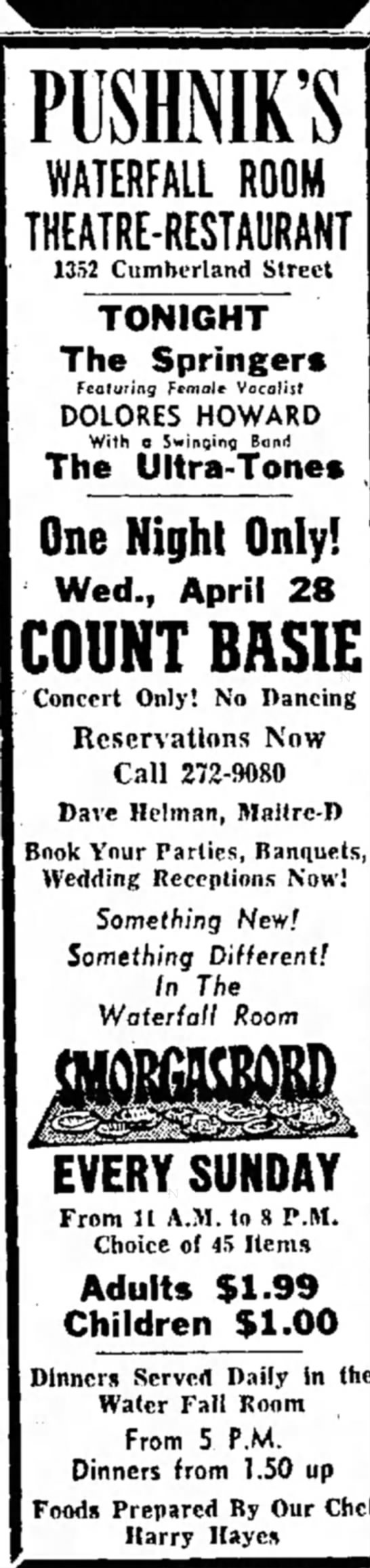 Count Basie at Pushnik's - PUSHNIK'S WATERFALL ROOM THEATRE-RESTAURANT...