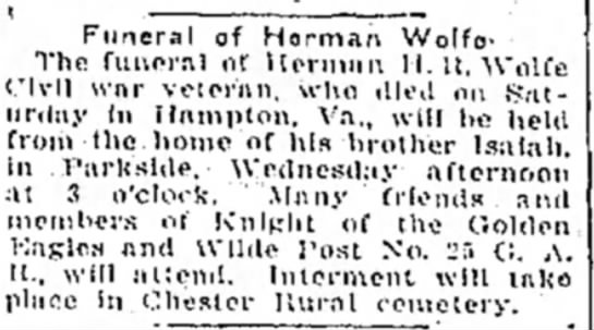 HHR Wolfe death 28 Oct 1924 husband of Jane Wood - Funoral of Horman Wolfe- The funorrvl of...