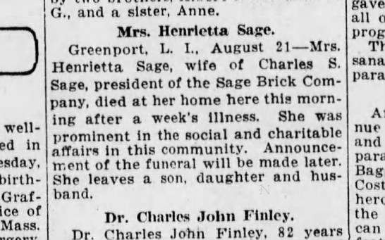Henrietta Sage Death - well-known in birth- I Mrs. Henrietta Sage....