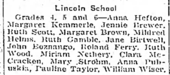clara mccracken - lincoln school - Lincoln School Grades -I. 5 and G—Anna Hcfton,...