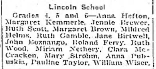 Lincoln School - 24 Dec 1925 - Clara McCracken - Lincoln School Grades -I. 5 and G—Anna Hcfton,...