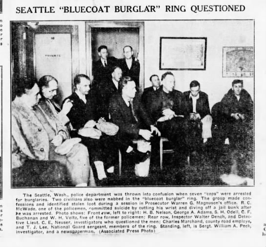 """C.E. Neuser questions SPD involved in """"bluecoat burglar ring"""" - SEATTLE """"BLUECO AT BURGLAR"""" RING QUESTIONED The..."""