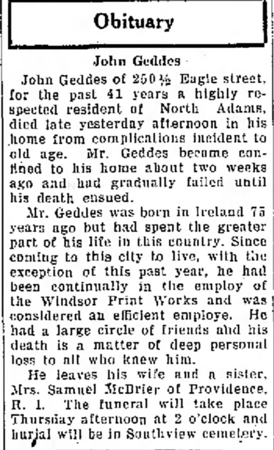 Obit John Geddes died Nov 2, 1925 - alleged C after the he n o t h i n g Obituary...
