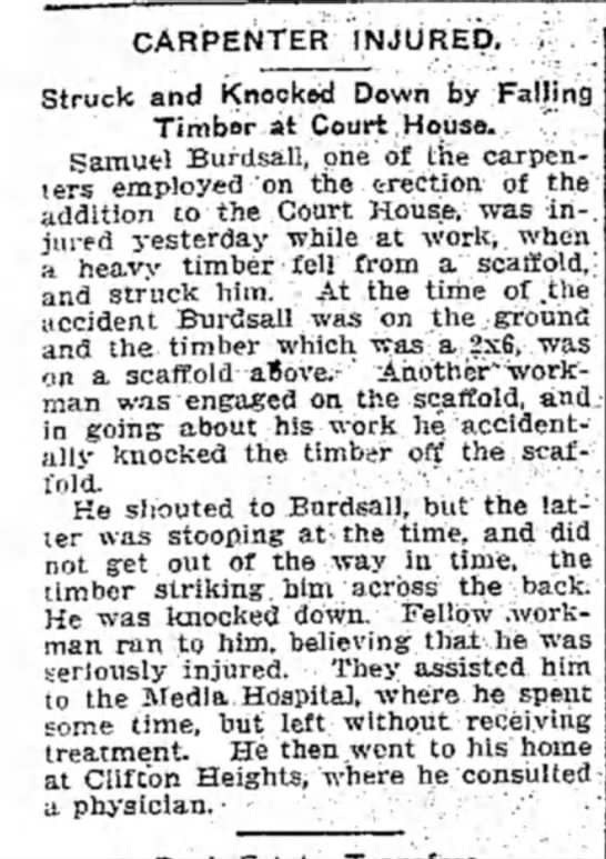 Samuel Burdsall Injured - CARPENTER INJURED. Struck and Knocked Down by...