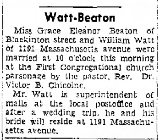 Marriage of Grace Eleanor Beaton and William Watt April 29, 1948 - Mrs. Frank Watt-Beoton Miss Grace Eleanor...