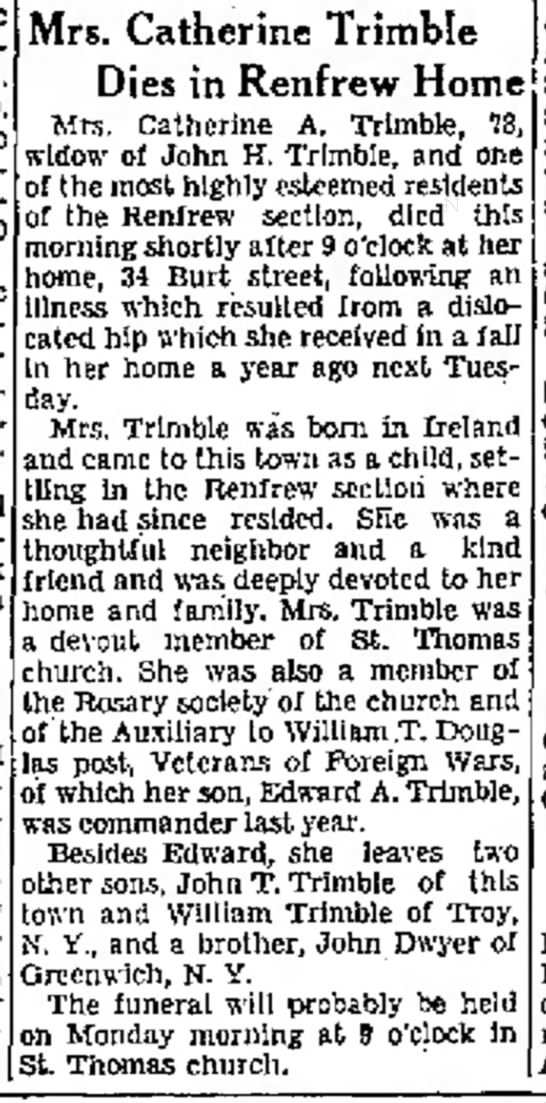 Catherine Trimble obit, widow of John Trimble  March 30, 1935 - pas- pastor; curate. pastor, 9.15, p....