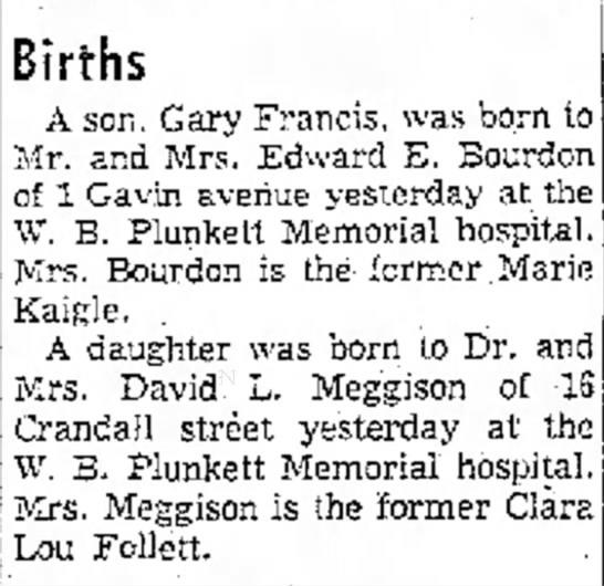 Lauren Meggison birth - Births A son. Gary Francis, was Mr. and Mrs....