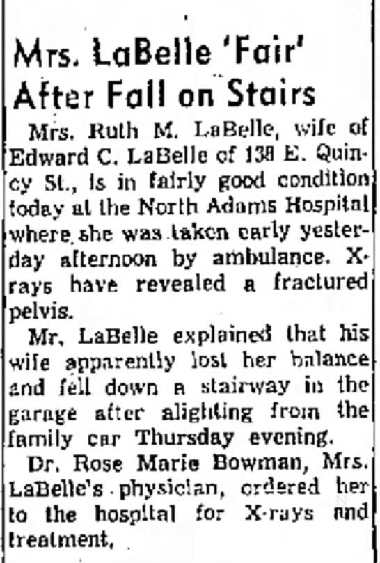 Ruth Morrison Labelle injured - was Mrs. LaBelle'Fair' After Fall on Stairs...