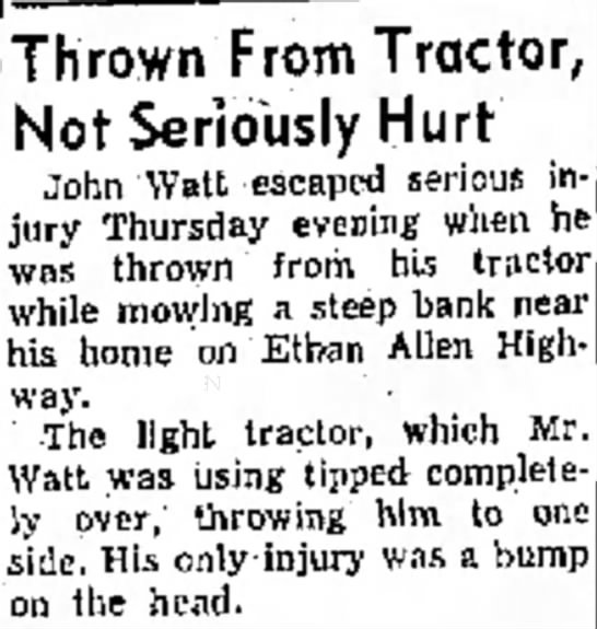 John Watts thrown from his tractor  May 28, 1960 - mas Fair Thrown From Tractor, Not Seriously H u...