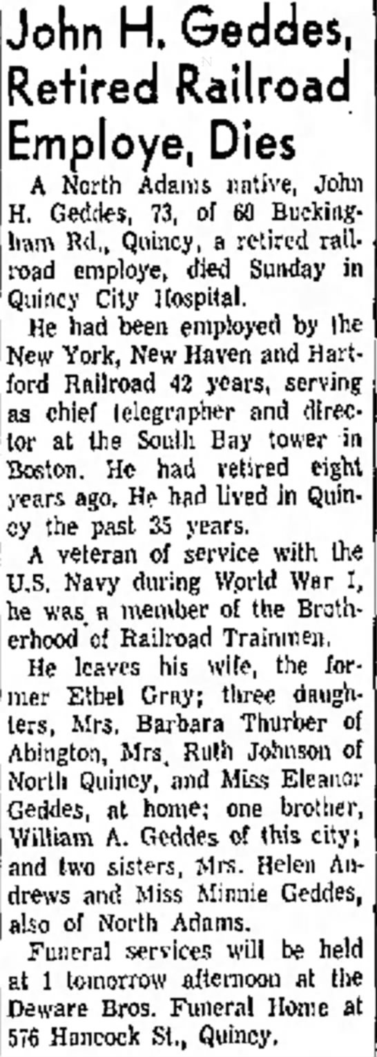 Obit John Henry Geddes  June 22, 1964 - St. John H, Geddes, Retired Railroad Employe,...