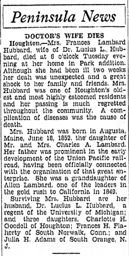 frances hubbard obit - by to the Peninsula News TJOCTOR'S WIFE DIES...