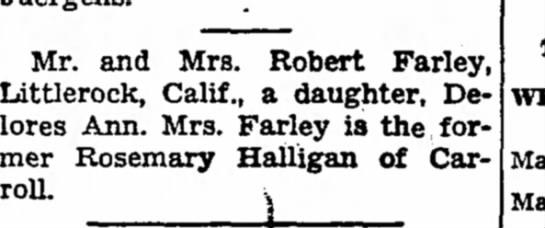 Delores Farley birth
